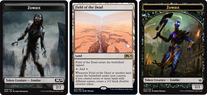 Field Of The Dead / Whenever field of the dead or another land enters the battlefield under your control, if you control seven or more lands with different names.
